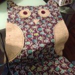 Owl with the parts stitched on and they eyes layed down