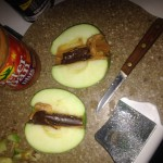 Apple Filled with PB and Chocolate