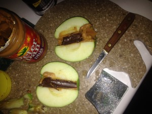 Peanut butter, chocolate Apple camping treat