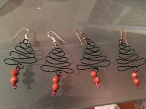 Small (silver hooks) Christmas tree earrings and Large